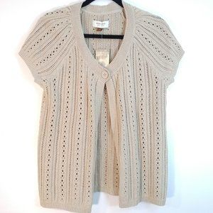 NWT Sonoma Short Sleeve 1-Button Beige Cardigan